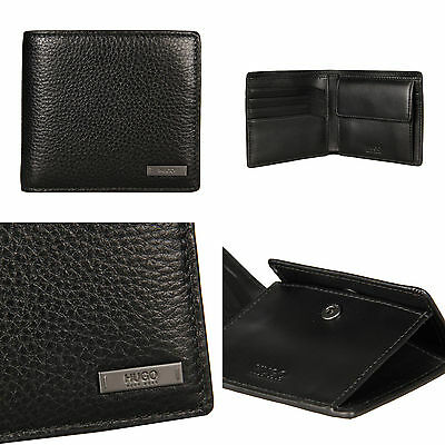 Genuine Hugo Boss Element 4cc Coin Wallet Grained Leather Black Gift Boxed New