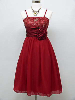 Cherlone Red Prom Ball Party Evening Wedding Knee Length Bridesmaid Dress 12