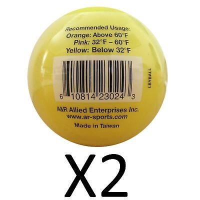 A&R Low Bounce Roller Street Floor Hockey Ball Yellow Below Freezing (2-Pack)