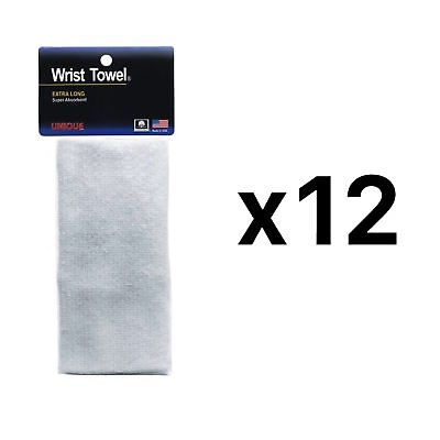 Unique Sports Wrist Towel Extra-Long Absorbent Non-Allergenic White (12-Pack)