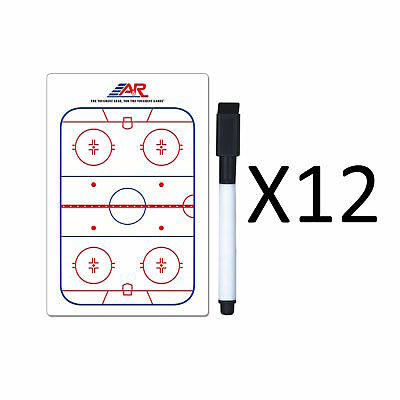"""A&R Sports Hockey Pocket Coach Board 5x4"""" Write On Wipe Off With Marker(12-Pack)"""