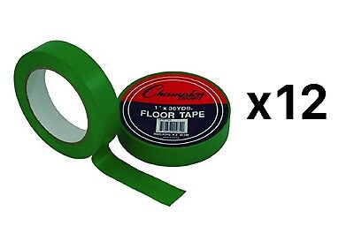 """Champion Sports Vinyl Floor Tape - 1"""" x 36yd, Green, For Sidelines (12-Pack)"""