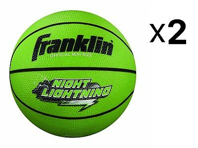 Franklin Sports Night Lightning Glow In The Dark Rubber Mini Basketball (2-Pack)