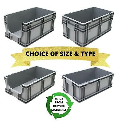 NEW Heavy Duty Industrial 51cm Plastic Euro Storage Box Boxes Solid & Open Front