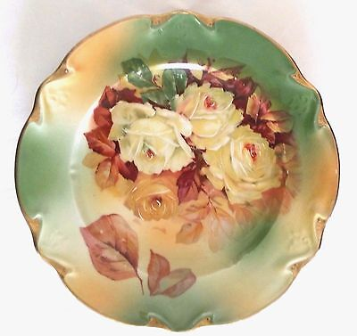 """Vintage 19th Century three crown Germany hp porcelain 8"""" charger plate gold vgc"""