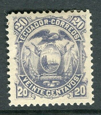 ECUADOR;  1881 early classic issue Mint hinged 20c. value