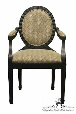 CENTURY FURNITURE Black Oval Back Louis XV Style Arm Chair