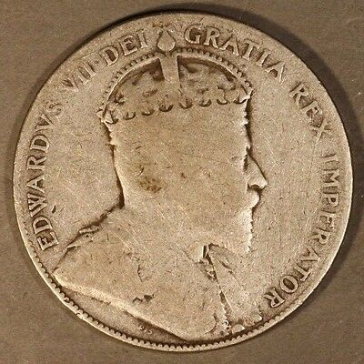 1905 Canada 50 Cents Silver Circulated                  ** FREE U.S. SHIPPING **