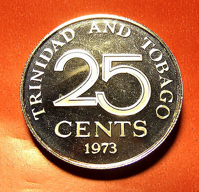 FROSTED !!!  1973 Trinidad & Tobago Rare Proof  25 cents 20mm 3.5g Coat of Arms!