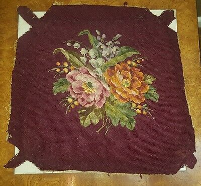 Antique Wool Hand Needlepoint Embroidered Chair Cushion Cover Floral Roses