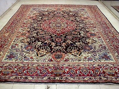 10X13 1940's AUTHENTIC HAND KNOTTED 70+YRS ANTQ WOOL SIGNED MASHAD PERSIAN RUG