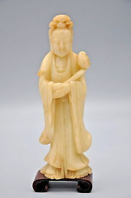 Chinese Antique 19Th Century Soapstone Figure Of Guan-Yin