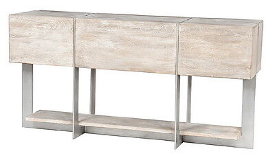 "60"" W Logan console table mango wood iron nickel finish distressed hand made"