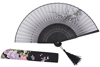 "Amajiji 8""Chinese Japanese Vintage Retro Style Handheld Folding Fan (Black)"