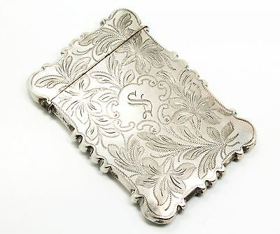 Antique 19c Ornate Hand Chased American Coin Silver Card Case