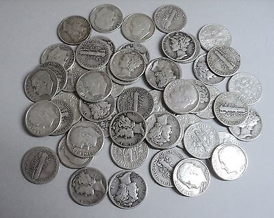50 - 90% Silver Roosevelt and Mercury Dimes