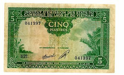 French indo china ... P 101 ... 5 Piastres ...  ND(1953) ... *F-VF*