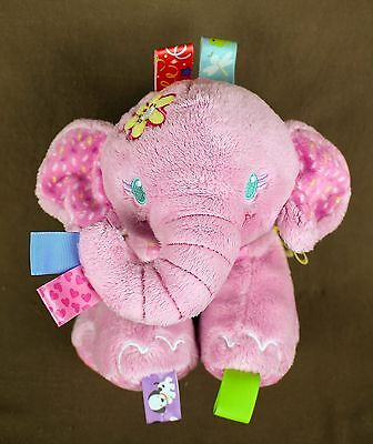 Taggies Pink elephant * Jingle rattle lovey security Plush Doll baby toy sensory
