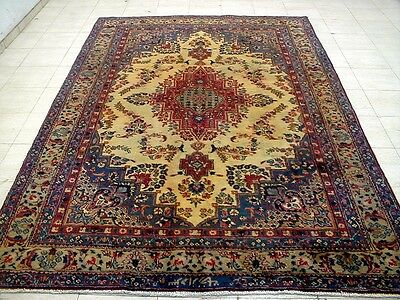9X6 1940's HAND KNOTTED 70+YRS ANTIQUE OVERDYED SIGNED WOOL SABZEVAR PERSIAN RUG