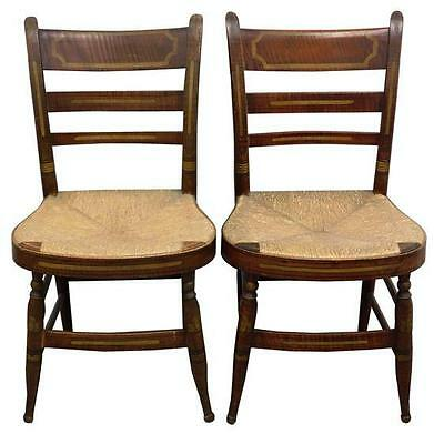 Pair of Sheraton fancy chairs faux grain finish, painted leaf decorati... Lot 74
