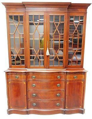 20th C. Georgian style two-piece breakfront display cabinet, mahogany... Lot 163