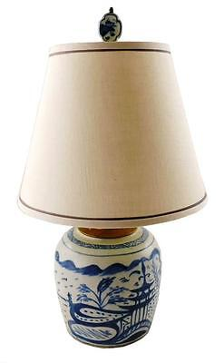 ASIAN: 20th C. Chinese Cantonware electrified table lamp, blue and whi... Lot 96