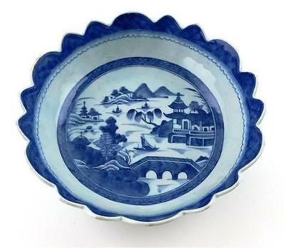 Chinese Canton export blue and white bowl, water scene with boats, bri... Lot 77