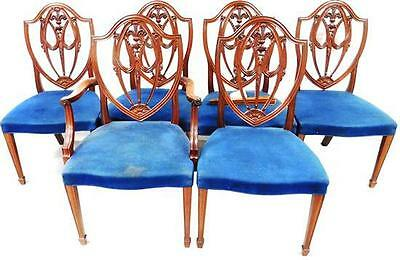 Six Hepplewhite style shield back dining chairs, five side and and on... Lot 116