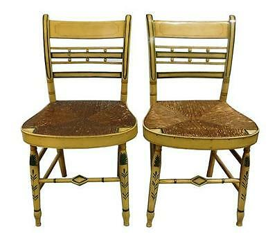 Pair of American Fancy Sheraton mustard painted side chairs, circa 180... Lot 82