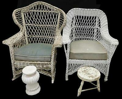 Pair of wicker arm chairs: first, rocking chair with open woven wing ... Lot 311