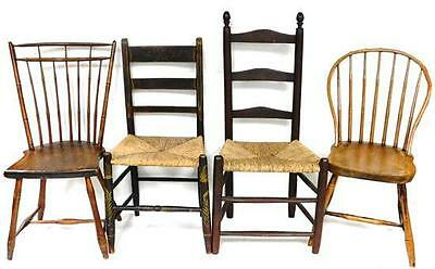 Four 19th C. side chairs: two three rung ladder back chairs with rush... Lot 237