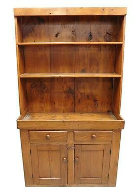 18th/19th C. American hutch, pine with auburn stain, tapering step ba... Lot 224