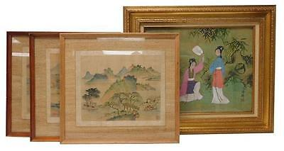 ASIAN: Four pieces of artwork: three similar early 20th C. watercolor... Lot 101