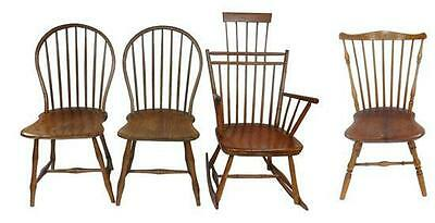 Four assorted Windsor chairs: pair of back side chairs with shaped sa... Lot 162