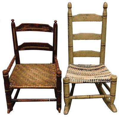 Two 19th/20th C. ladder back child's rockers with box stretchers: the... Lot 284