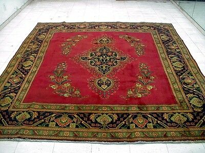 9X8 1940s AUTHENTIC HAND KNOTTED 70+YRS ANTQ OVERDYED WOOL TABRIZ PERSIAN RUG