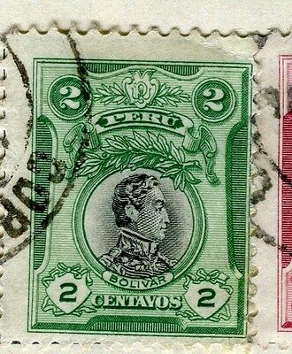 PERU;  1918 early Portrait issue fine used 2c. value