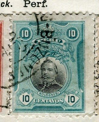 PERU;  1918 early Portrait issue fine used 10c. value