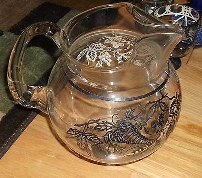 Water Pitcher Silver Metal Overlay