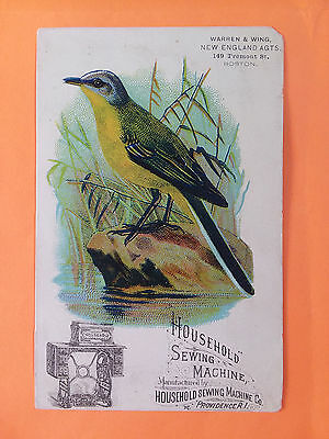 1800's VICTORIAN TRADE CARD, HouseHold Sewing Machine co. Bird on stone by water