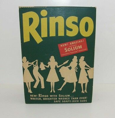 Antique UNOPENED Rinso Vintage Laundry Detergent Soap Box Wash Lever Bros