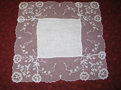 Stunning VTG Antique French Needle Run Net Lace Handkerchief Hanky~Bridal~White