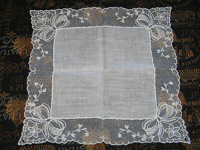 VTG Antique Needle Run Embroidery Net Lace Handkerchief Hanky~Bridal-BOWS