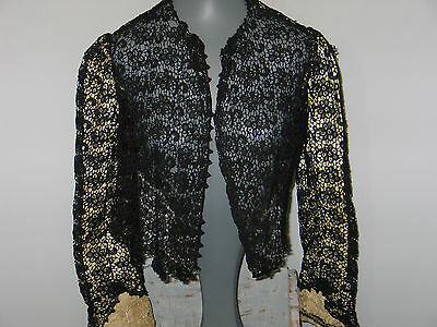 Antique 19th Century VICTORIAN BODICE BLOUSE EMBROIDERED Mixed Brussels LACE