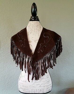 Vintage Leather Shawl Mexico Suede Shoulder Yoke Fringe Western Rodeo Cowgirl D1