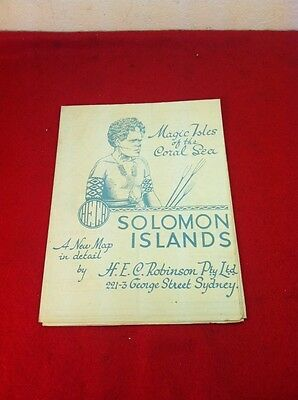 "Original Vtg Map of Solomon Islands Magic Isles H.E.C. Robinson 30""x20"" Nice!"