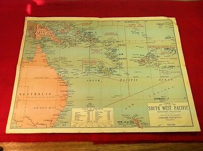 Vintage South West Pacific Map Australia New Zealand Guinea Solomon Caledonia