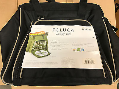 Picnic Time Toluca Cooler Tote Basket Insulated 401-42 Black with Tan Brand New