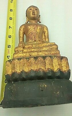 Antique Thai Tibetan Chinese Carved Wood Gold Gilt Buddha Statue