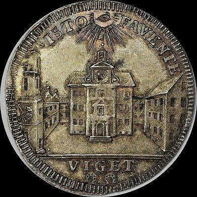 ONLY 1 PCGS MS63 Radiant Eye of God 1750 Germany FORSTER-206 Silver Medal, Toned